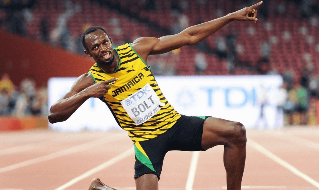 Jamaican sprinter Usain Bolt poses after his victory at the 2016 Rio Olympics