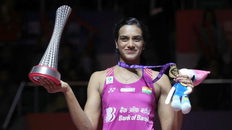 P.V. Sindhu after winning the BWF world tour finals in 2018