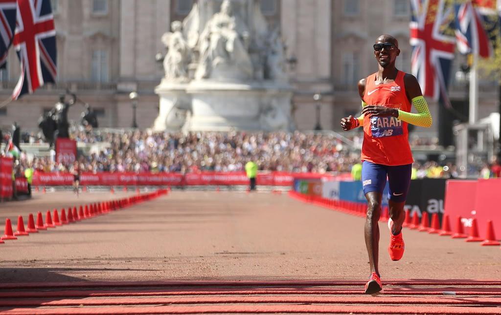 British runner and Olympic champion Mo Farah at the London Marathon 2019