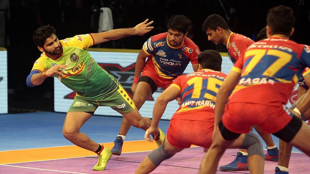 A PKL game between Patna Pirates and UP Yodhdha  is in progress