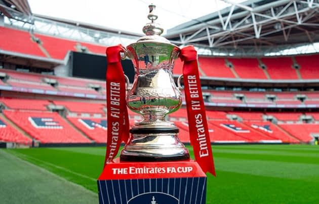 The famous FA Cup trophy at the Wembley Stadium