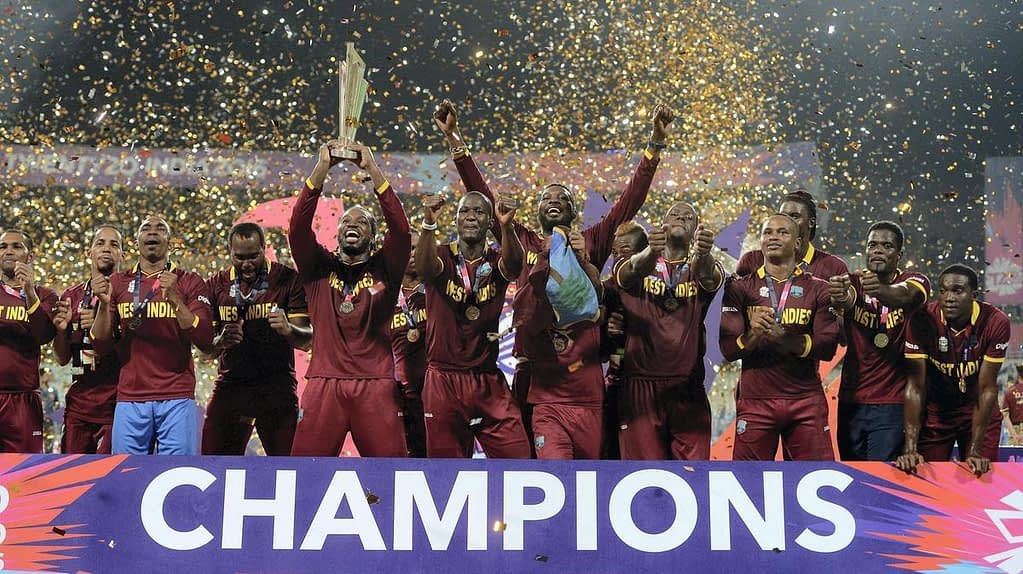 The triumphant West Indian Cricket team after winning the tournament in 2016