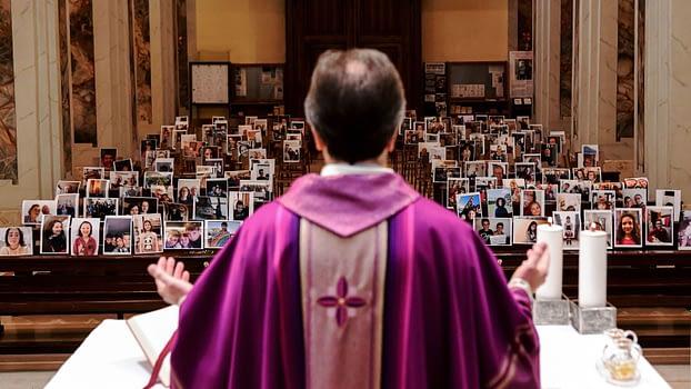 Giuseppe Corbari holds Sunday Mass