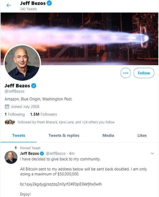 Jeff Bezos hacked twitter account displaying the tweet